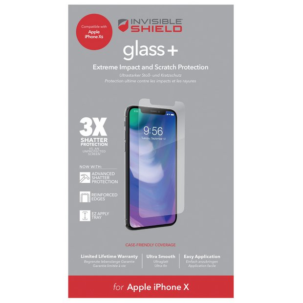 purchase cheap c4d71 27d92 Buy Zagg InvisibleShield Apple iPhone XS/X Screen Protector | Mobile phone  screen protectors | Argos