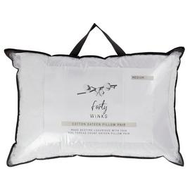 Forty Winks Cotton Sateen Medium Pillow - 2 Pack