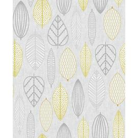 Superfresco Easy Scandi Leaf Yellow Wallpaper