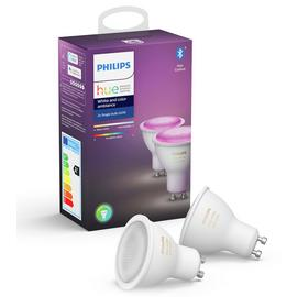 Philips Hue GU10 Colour Smart Bulb with Bluetooth - 2 Pack/t