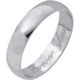 Revere 9ct White Gold Heavyweight Message Wedding Ring - 4mm