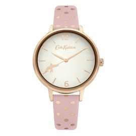 Cath Kidston Ladies Pink Polka Dot Faux Leather Strap Watch