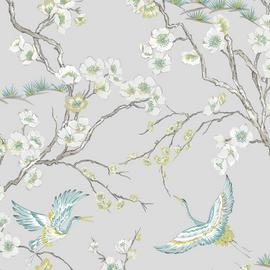 Sublime Japan Grey & Blue Wallpaper