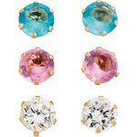 more details on 9ct Gold Cubic Zirconia and Stone Stud Earrings - Set of 3.