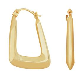 Revere 9ct Yellow Gold Rectangular Creole Hoop Earrings