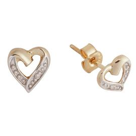 Revere 9ct Yellow Gold Diamond Accent Heart Stud Earrings