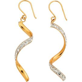 Revere 9ct Yellow Gold Crystal Twist Drop Earrings