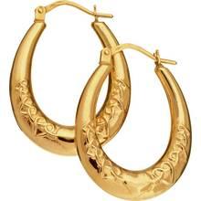 Revere 9ct Gold Oval Creole Hoop Earrings