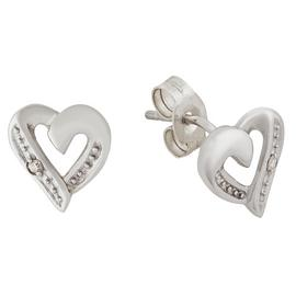 Revere 9ct White Gold Diamond Accent Heart Stud Earrings