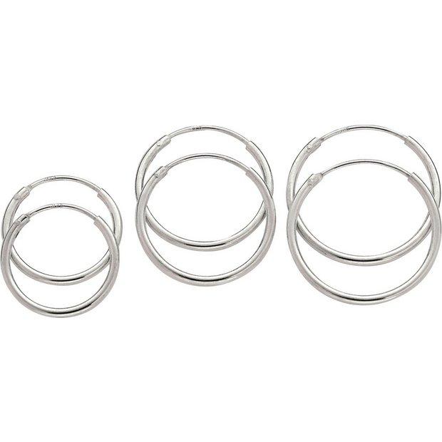Buy Revere Sterling Silver Hoop Earrings Set Of 3 At