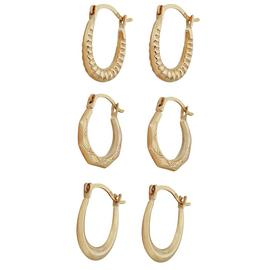 Revere 9ct Yellow Gold Set of 3 Mini Creoles