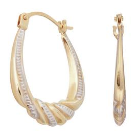Revere 9ct Yellow Gold Two Tone Twist Creole Hoop Earrings
