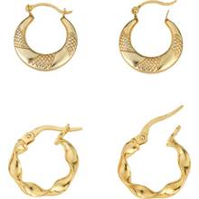 Revere 9ct Gold Plated Silver Set of 2 Creole Hoop Earrings