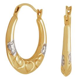 Moon & Back 9ct Yellow Gold Mum Flower Creole Hoop Earrings