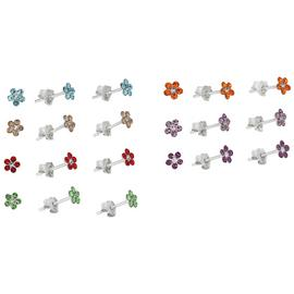 Revere Sterling Silver Flower Stud Earrings Set of 7 Pairs