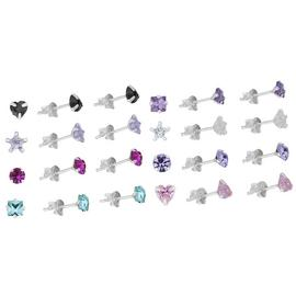 Revere Sterling Silver Crystal Stud Earrings Set of 8 Pairs