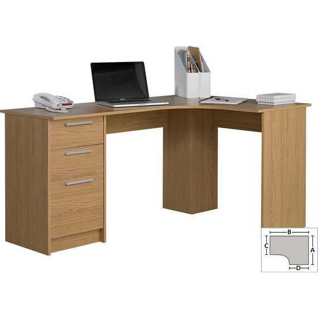 Buy Home Large Corner Desk Oak Effect At Your Online Shop For Desks And