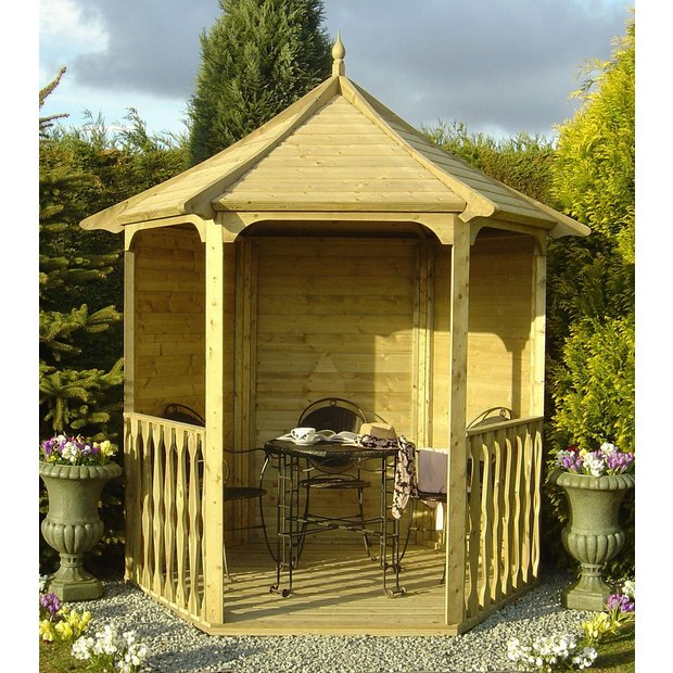 buy homewood pressure treated hexagonal arbour 6 x 7ft at. Black Bedroom Furniture Sets. Home Design Ideas