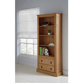 Argos Home 3 Shelves 2 Drawer Tall Wide Solid Pine Bookcase