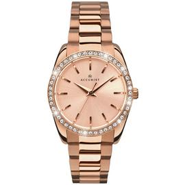 Accurist Ladies' Stone-Set Rose Gold Plated Bracelet Watch (221495366) Best Price and Cheapest
