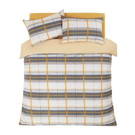 Argos Home Mustard and Grey Check Bedding Set - Superking