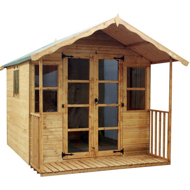 buy mercia premium wooden summer house with veranda 8 x. Black Bedroom Furniture Sets. Home Design Ideas