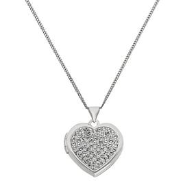 Moon & Back Silver Heart Photo Locket 18 Inch Necklace