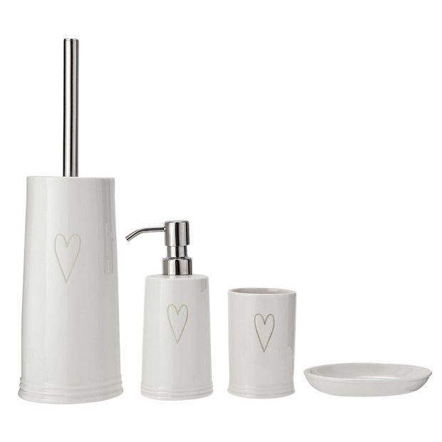 Buy Argos Home 4 Piece Ceramic Bathroom Accessory Set Hearts Bathroom Accessory Sets Argos