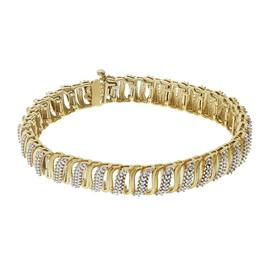 Revere 9ct Gold Plated Silver 0.10ct tw Diamond Bracelet