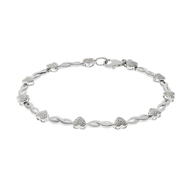 Hearts And Kisses Bracelet: Buy Sterling Silver Diamond Accent Hearts And Kisses