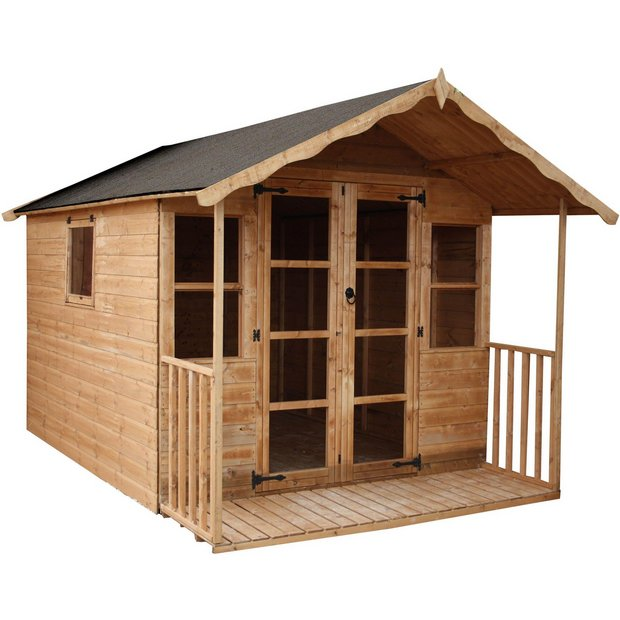 buy mercia premier wooden summer house with veranda 12 x. Black Bedroom Furniture Sets. Home Design Ideas