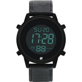 Spirit Men's Black Leather-Effect Strap Watch