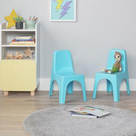 Argos Home Pair of Blue Plastic Chairs