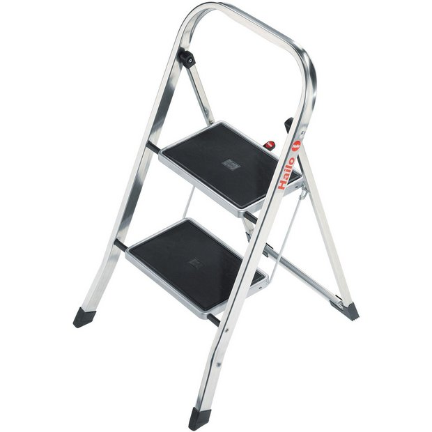 buy hailo 2 tread polished aluminium step stool at your online shop for ladders. Black Bedroom Furniture Sets. Home Design Ideas