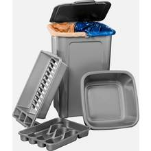 Tontarelli 4 Piece 45L Kitchen Bin Set - Silver