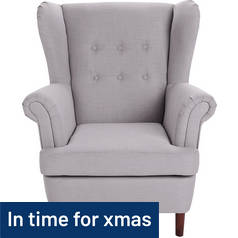 Argos Home Martha Fabric Wingback Chair - Light Grey