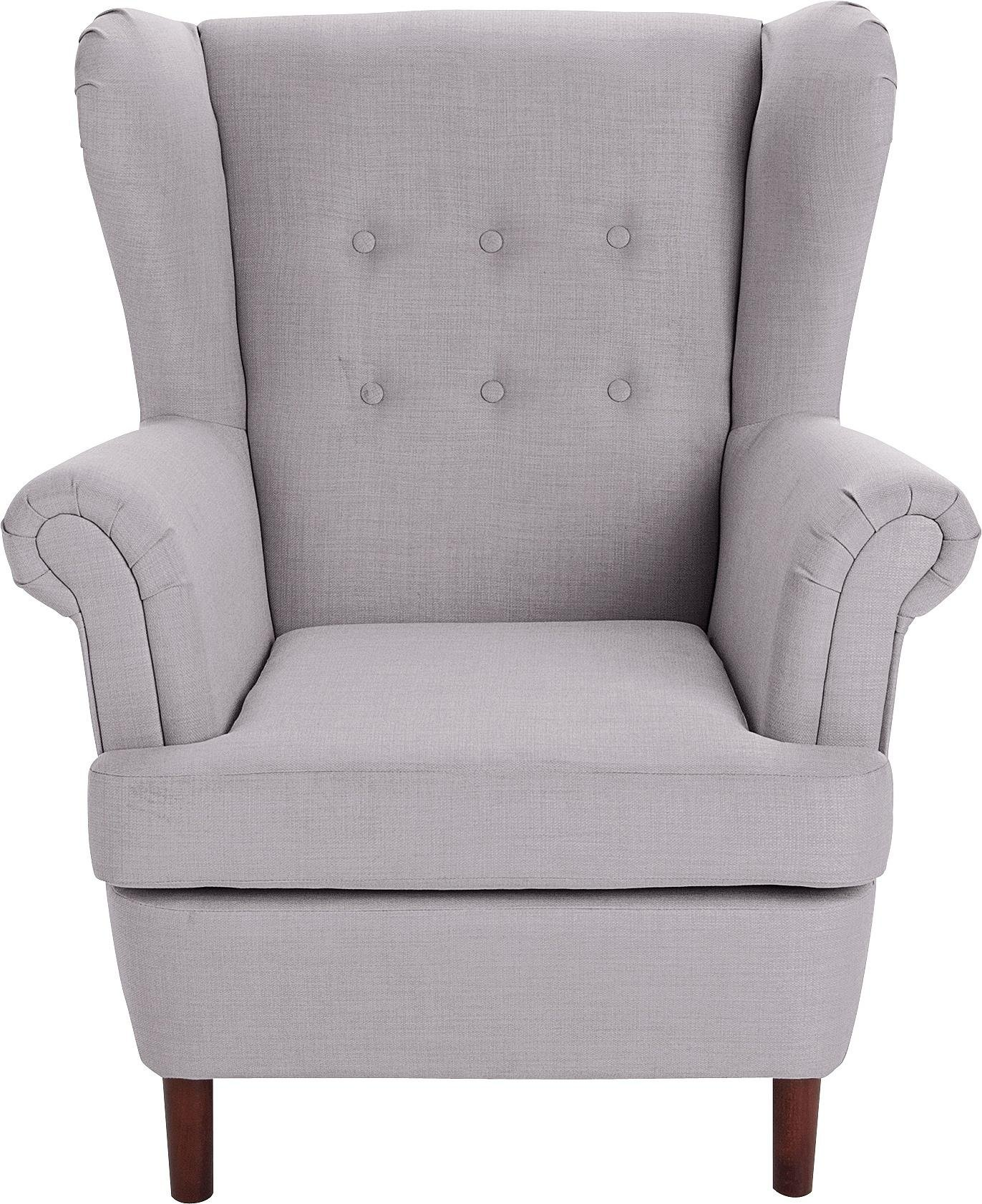 collection martha fabric wingback chair grey