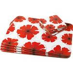 more details on HOME Poppies Placemat and Coaster Set - White.