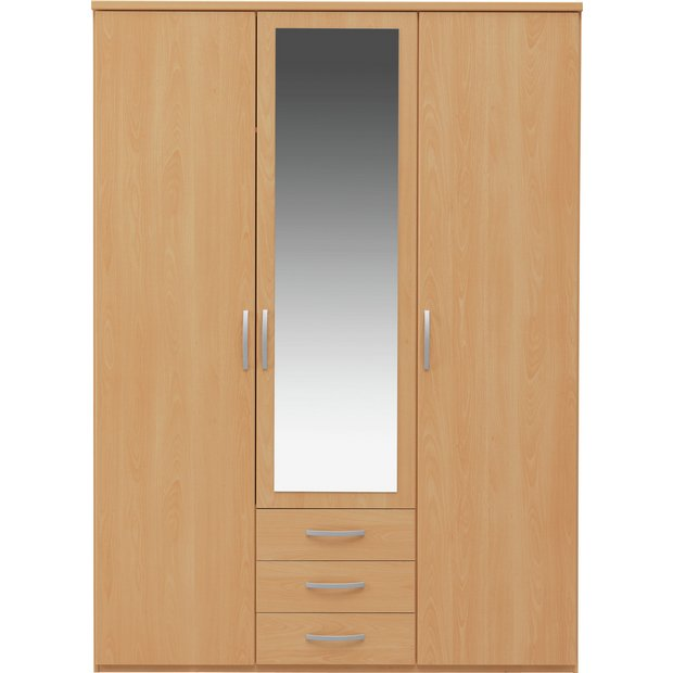 Buy collection new hallingford 3 dr 3 drw mirror wardrobe for Bedroom furniture argos