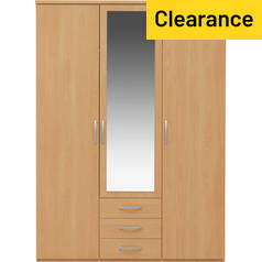 Argos Home Hallingford 3 Door 3 Drawer Mirrored Wardrobe