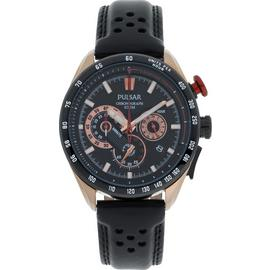 Pulsar WRC Men's Black Leather Strap Chronograph Watch