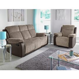 Argos Home Bradley 3 Seater Fabric Recliner Sofa - Natural