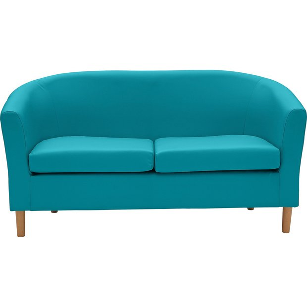 Buy Colourmatch 2 Seater Leather Effect Tub Sofa Lagoon