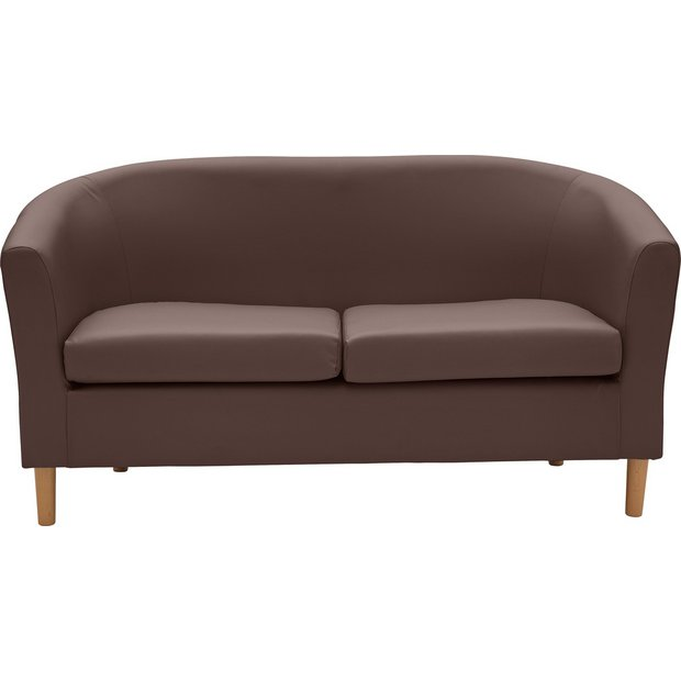 Buy Argos Home 2 Seater Faux Leather Tub Sofa Brown | Sofas | Argos