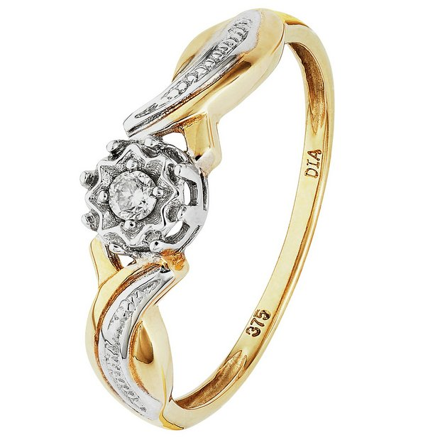 Buy 9ct Gold Diamond Accent Solitaire Fancy Twist Ring At