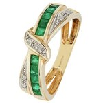 more details on 9ct Gold Emerald and Diamond Accent Crossover Eternity Ring.