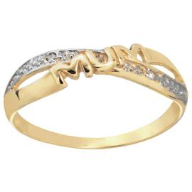Moon & Back 9ct Yellow Gold Diamond Accent 'Mum' Ring
