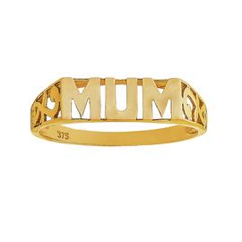 Moon & Back 9ct Yellow Gold 'Mum' Ring