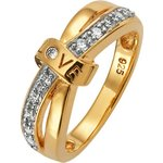 more details on 18ct Gold Plated Silver Cubic Zirconia Crossover Love Ring.