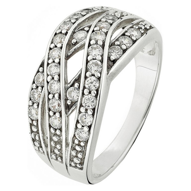 buy sterling silver cubic zirconia multi crossover band l